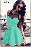 Платье женское декольте сетка ментол габардин акция 42 44 46 48 50 Р