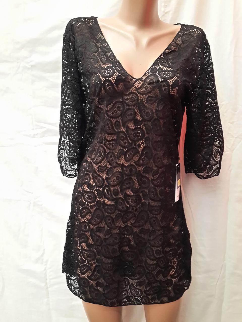Платье-туника пляжное 025 Тиффани черное на наши 44-46 размеры.
