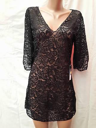 Платье-туника пляжное 025 Тиффани черное на наши 44-46 размеры., фото 2