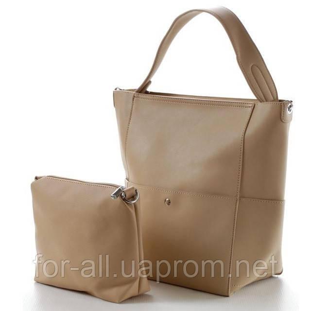 Модная женская сумка бежевая в классическом стиле+сумка в подарок