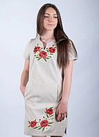 Платье с вышивкой Маки