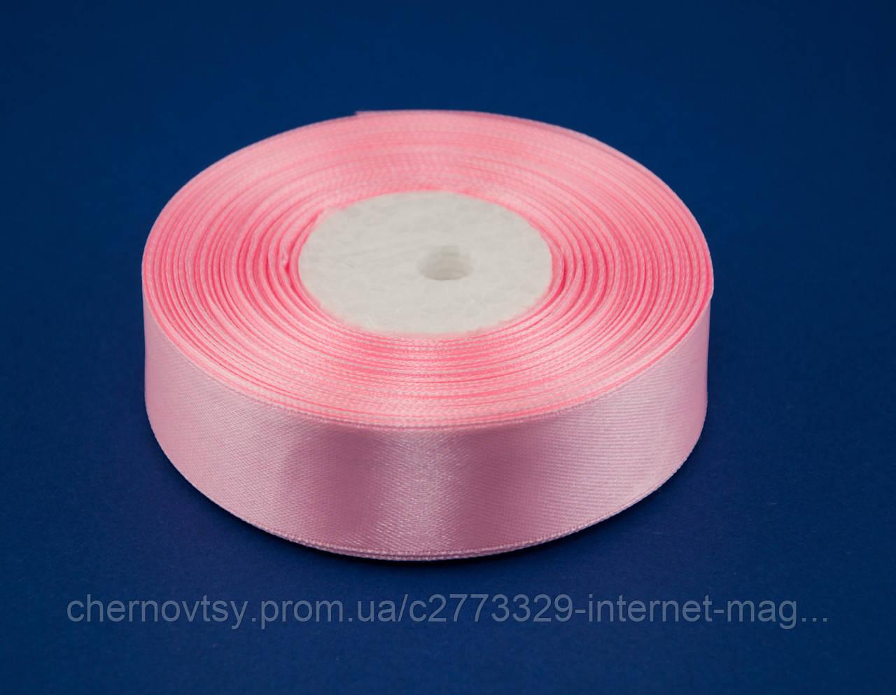 Лента атлас 2.5 см, 33 м, № 04 Нежно-розовая