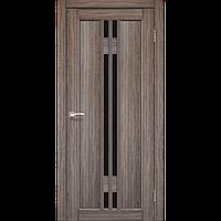 Дверь межкомнатная VALENTINO DELUXE дуб грей черное стекло