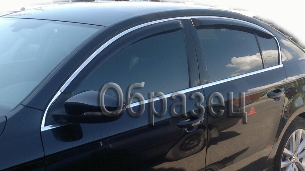 Дефлекторы окон (ветровики) Volkswagen Touareg 2010-, 4ч., темный/хром