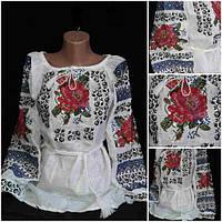 Льяная женская блуза с вышивкой, 42-56 р-ры