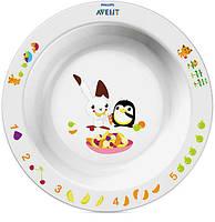 Большая глубокая тарелка, белая с зайчиком, Avent