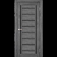 Дверь межкомнатная VENECIA DELUXE дуб марсала черное стекло