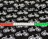 """Трикотажное полотно сингл джерси """"Белые велосипеды"""", на черном фоне., фото 2"""