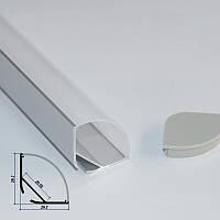 Угловой двухрядный профиль для светодиодной ленты YF106-1 (2м) с рассеивателем
