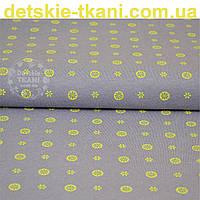 Трикотажное полотно сингл джерси с маленькими лимонами и цветочками (Польша)