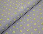 Трикотажное полотно сингл джерси с маленькими лимонами и цветочками (Польша), фото 3