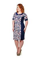 Платье размер плюс Модена красные  цветы (50-62)