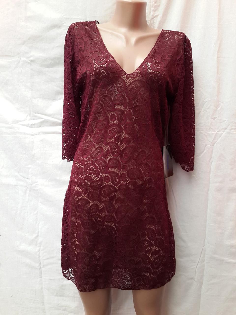Платье-туника пляжное 025 Тиффани бордовое на наши 46-50 размеры.