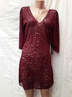 Платье-туника пляжное 025 Тиффани марсала-бордовое,идет  на наши 46-52 размеры.