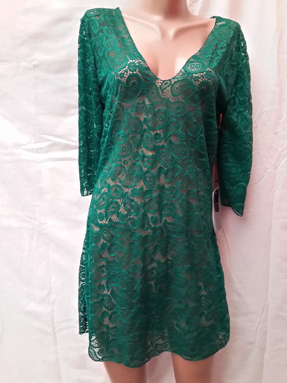 Платье-туника пляжное 025 Тиффани темно-зеленое на наши 44-46 размеры.
