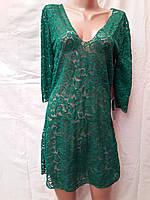 Платье-туника пляжное 025 Тиффани темно-зеленое на наши 46-50 размеры.