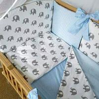 """Детский постельный комплект """"Elephants / blue"""" (без балдахина), фото 1"""