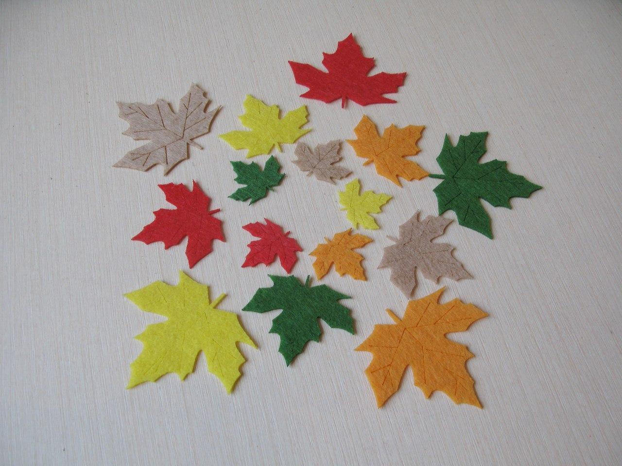 Осенние листья клена из фетра.