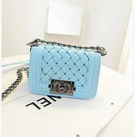 Сумка женская клатч Chanel blue плетенная