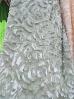 Плед покрывало норка Евро размер цветы 3D  East Comfort  фисташковый