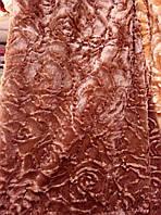 Плед покрывало норка Евро размер цветы 3D  East Comfort  шоколад