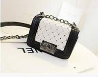 Сумка женская клатч Chanel black-white плетенная