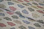 Трикотажное полотно сингл джерси розовые и серые облака на белом фоне.(Польша), фото 3