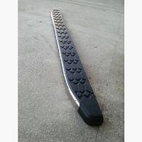 Пороги боковые площадкой BlackLine на Fiat Doblo II 2005+ (2шт)