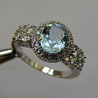 Родированное кольцо с натуральными топазами