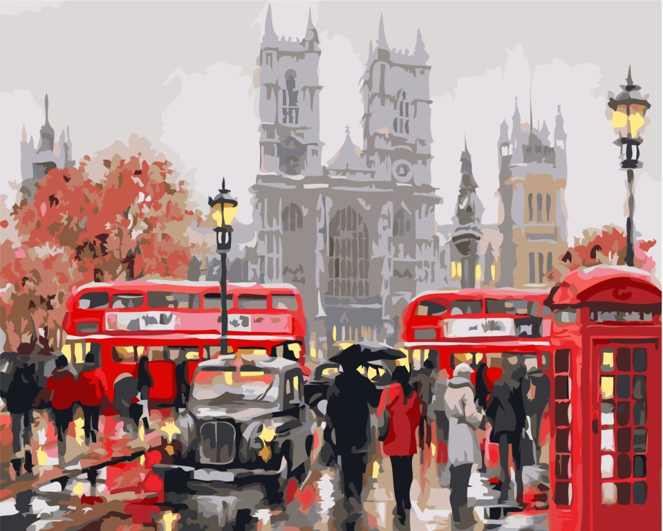 Картина по номерам Идейка Дождливый Лондон худ. МакНейл Ричард (KHO2149) 40 х 50 см (без коробки)