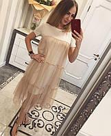Платье женское модное с прозрачным верхом миди трикотаж и сетка разные цвета SMvv1583
