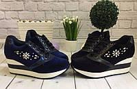 Женские кроссовки на платформе, черные, синие