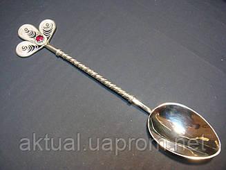 Ложка чайная серебро скань