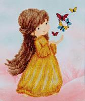 Схема для вышивки бисером T-0781 Девочка с бабочками