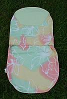 """Пеленка-кокон на липучках """"зеленые/розовые цветы"""", фото 1"""