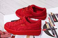 Криперсы (кроссовки) женские красные эко-замша
