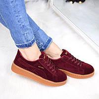 Кроссовки женские криперы Puma Rihanna бордо 3401, спортивная обувь