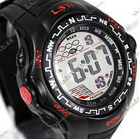 Электронные спортивные часы LSH №1078 (черно-красные), фото 1