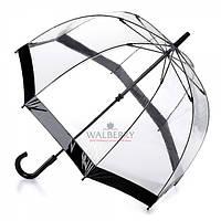 Женский прозрачный зонт-трость Fulton Birdcage-1 - L041 - Black (Черный)
