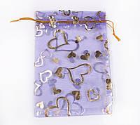 Мешочек подарочный 12х16  сиреневый с золотым сердцем