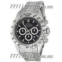 Часы мужские наручные Rolex Daytona Quartz Date Silver-Black