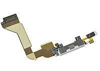 Шлейф для iPhone 4 с разъмом зарядки и микрофоном. белый