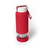 Бутылочка-заварник для напитков стеклянная Красная 450 мл с ситечком, бутылочка с логотипом