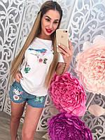 Женский костюм джинсовые шорты и футболка с птичками в пайетку