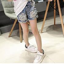 Джинсовые шорты для девочки с бусинами, фото 3