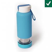 Бутылочка-заварник для напитков стеклянная Голубая 450 мл с ситечком , бутылочка с логотипом