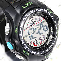 Электронные спортивные часы LSH №1078 (черно-зеленые), фото 1