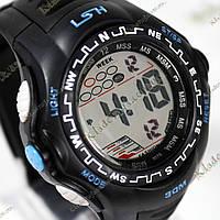 Электронные спортивные часы LSH №1078 (черно-голубые), фото 1