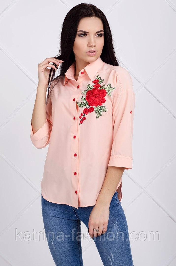 Женская стильная рубашка с нашивкой (4 цвета)