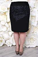 Юбка большого размера Вставка гипюр, юбка для офиса